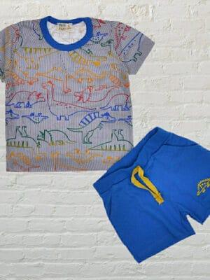 Летен комплект за момче тениска с динозаври и къси сини панталони