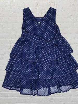 Синя детска рокля на бели точки