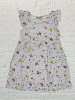 Сива рокля с пеперуди и панделка