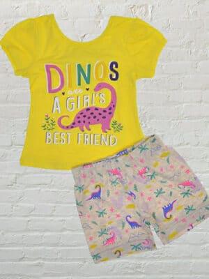 Летен комплект за момиче жълта тениска и сиви къси панталони с динозаври