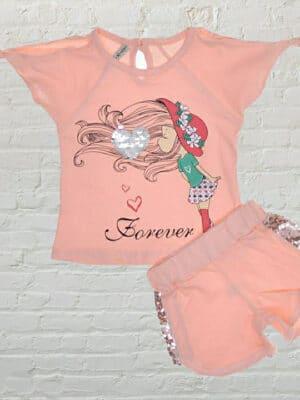 Летен комплект за момиче тениска и къси панталони в цвят пудра