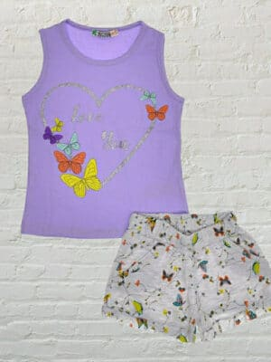 Комплект за момиче лилав потник с пеперуди и сиви къси панталони