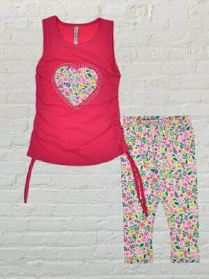 Комплект за момиче цикламен потник със сърце потник и късо клинче