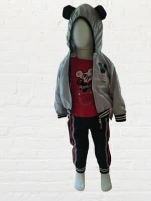 Комплект за момче три части с яке ветровка в сиво, червена блуза и черно долнище