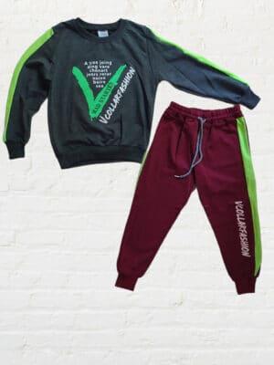Комплект/екип за момче блуза с дълъг ръкав в сиво и долнище в цвят бордо