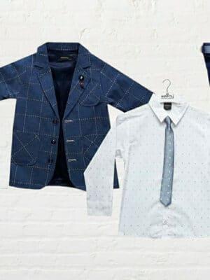 Комплект за момче само, риза, вратовръзка, колан и панталон