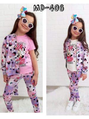 Комплект за момиче три части - тениска с къс ръкав, клин и суичър