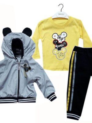 Комплект за момче три части с яке ветровка в сиво, жълта блуза и черно долнище