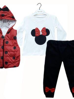 Комплект за момиче три части с червена грейка на черни точки, бяла блуза и черно долнище с панделки