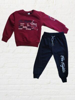 Комплект/екип за момче блуза с дълъг ръкав в цвят бордо и черно долнище