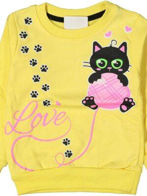 Блуза за момиче с лека вата и щампа на коте в жълто